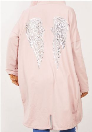 Dusty Sequin Angel Wing Hooded Cardigan
